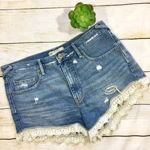 Free People Denim Shorts with Lace Trim